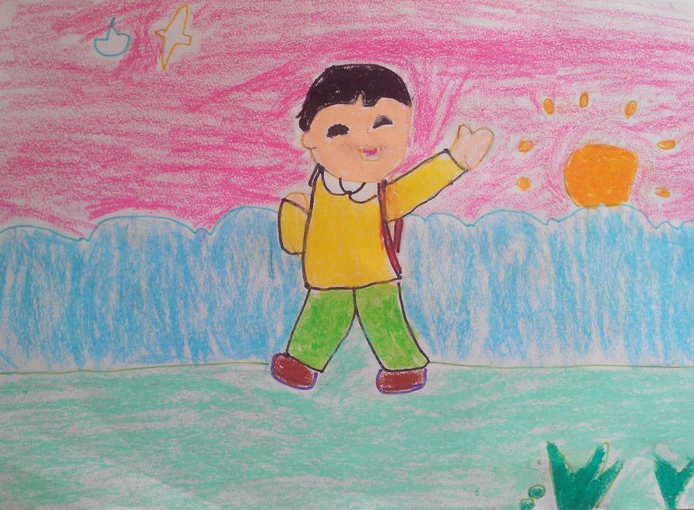 儿童画小朋友上学去幼儿园图片