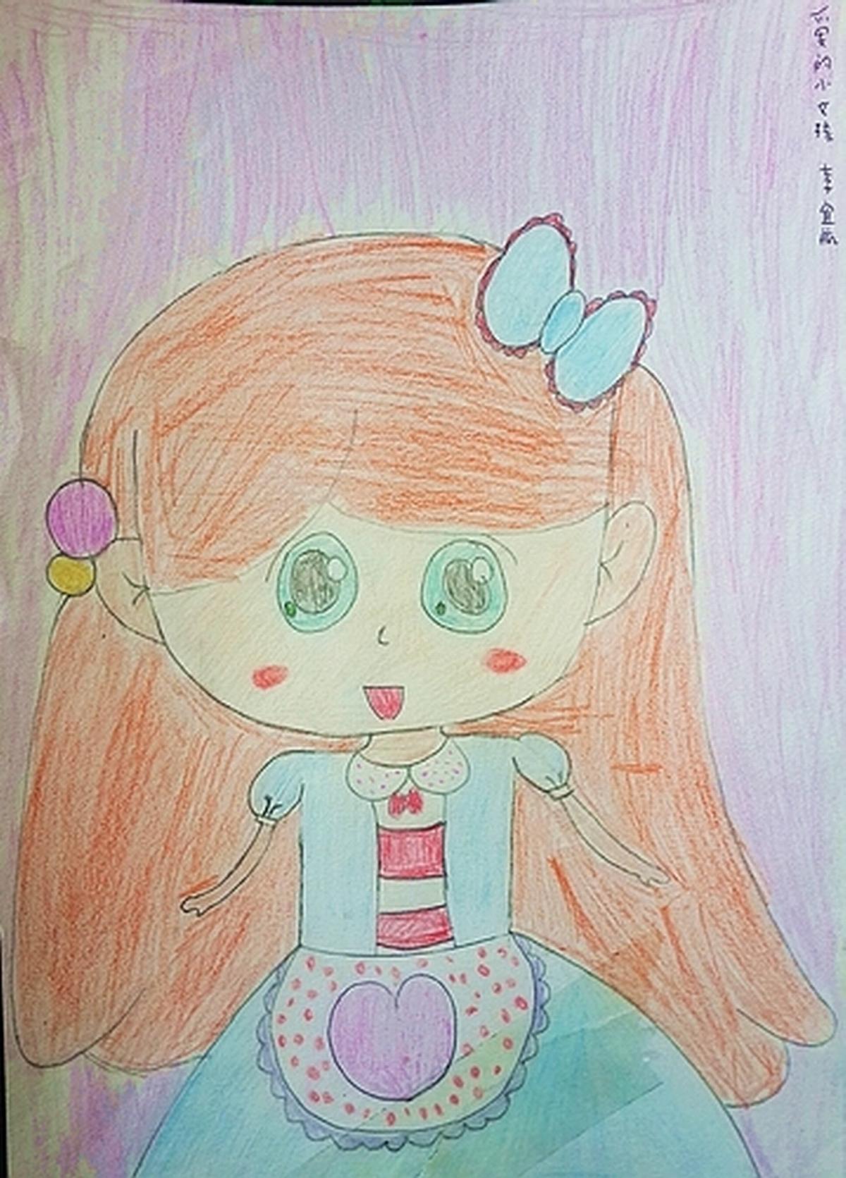 可爱的小女孩||中国少儿艺术网—2015少儿书画大赛