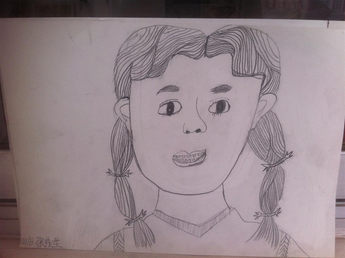 扎辫子的女孩||中国少儿艺术网—2015少儿书画大赛 性