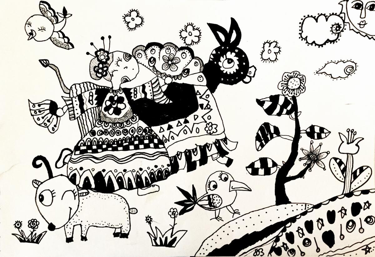 民族舞||中国少儿艺术网—2015少儿书画大赛 全国少儿图片